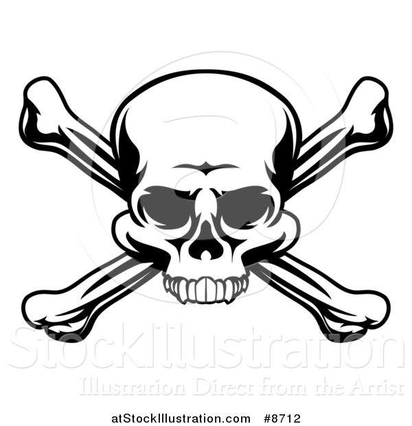Vector Illustration of a Black and White Skull and Crossbones