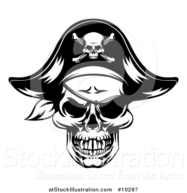 Vector Illustration of a Black and White Skull Wearing an Eye Patch and Pirate Hat