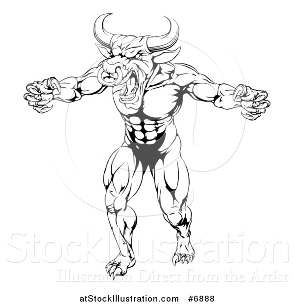 Vector Illustration of a Black and White Snarling Bull Man Minotaur Monster Mascot Attacking