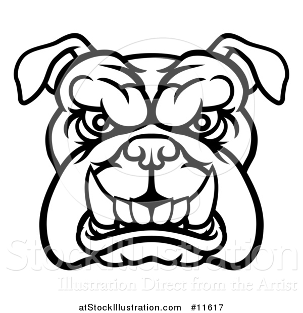 Vector Illustration of a Black and White Snarling Bulldog Face