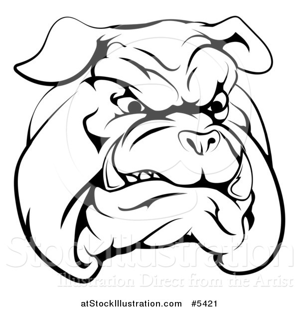 Vector Illustration of a Black and White Snarling Bulldog Mascot Face