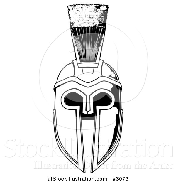 Vector Illustration of a Black and White Spartan Helmet