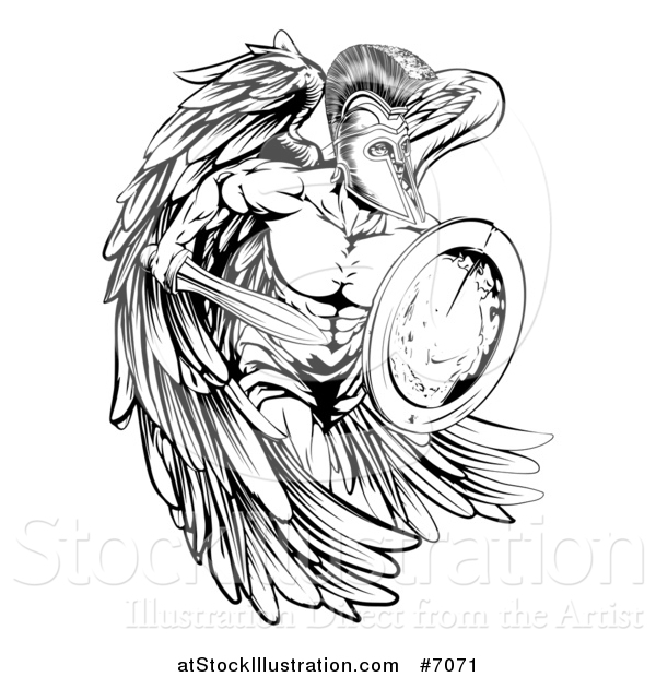 Vector Illustration of a Black and White Spartan Trojan Warrior Angel Running with a Sword and Shield