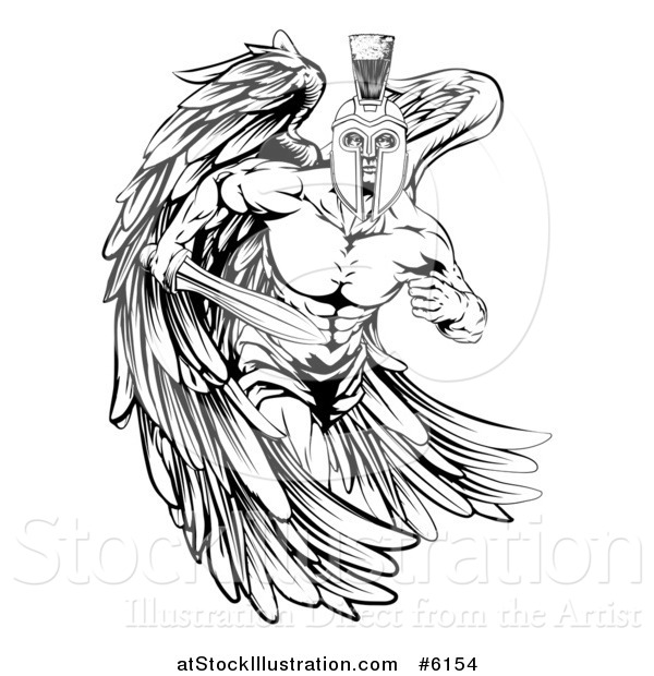 Vector Illustration of a Black and White Spartan Trojan Warrior Guardian Angel Running with a Sword