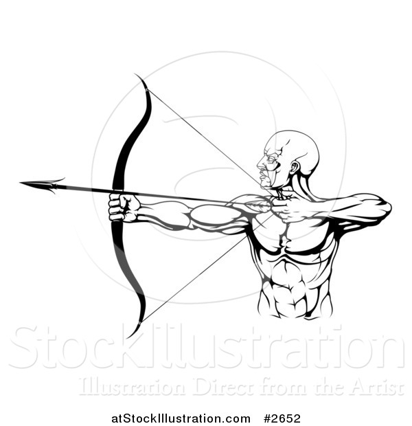 Vector Illustration of a Black and White Strong Male Archer