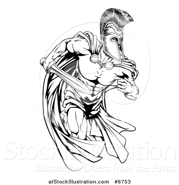 Vector Illustration of a Black and White Strong Spartan Trojan Warrior Mascot Running with a Sword