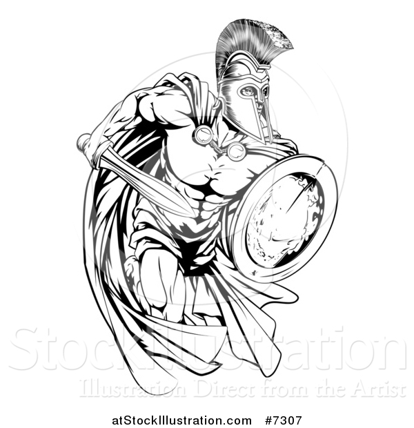 Vector Illustration of a Black and White Strong Spartan Trojan Warrior Mascot Sprinting with a Sword and Shield