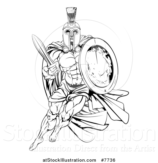 Vector Illustration of a Black and White Strong Spartan Trojan Warrior Mascot with a Cape, Running with a Sword and Shield