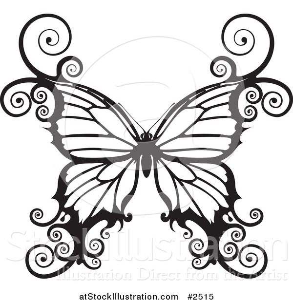 Vector Illustration of a Black and White Swirly Butterfly
