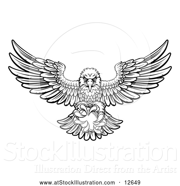 Vector Illustration of a Black and White Swooping American Bald Eagle with a Football in His Talons