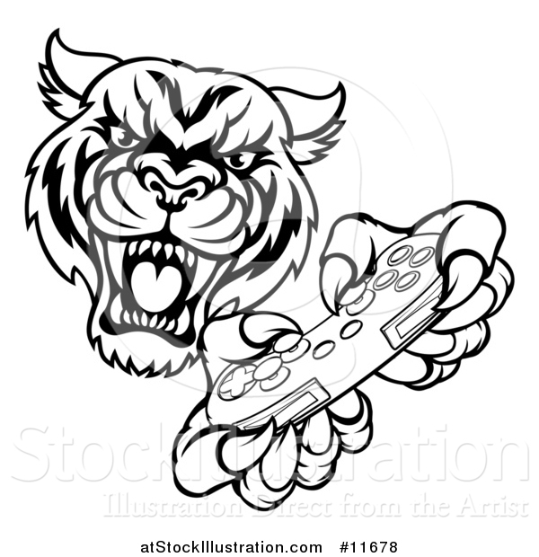 Vector Illustration of a Black and White Tiger Mascot Playing a Video Game