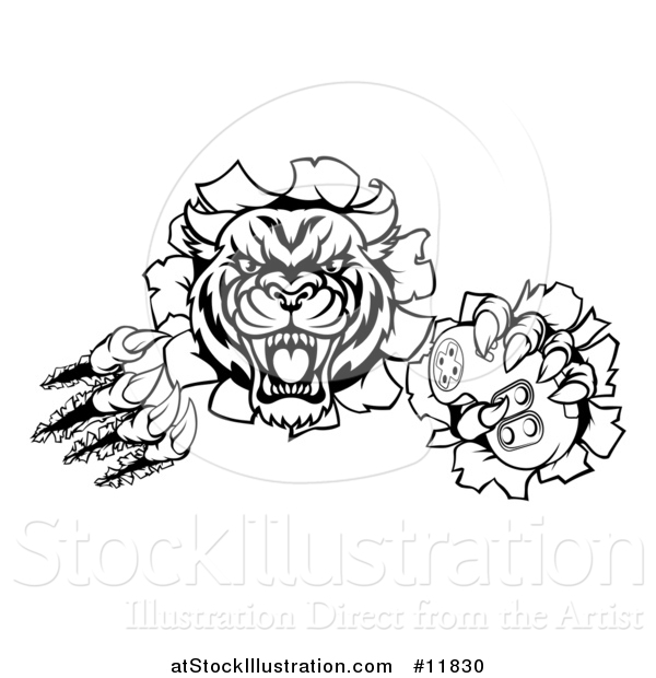 Vector Illustration of a Black and White Tiger Mascot Shredding Through a Wall and Holding a Video Game Controller