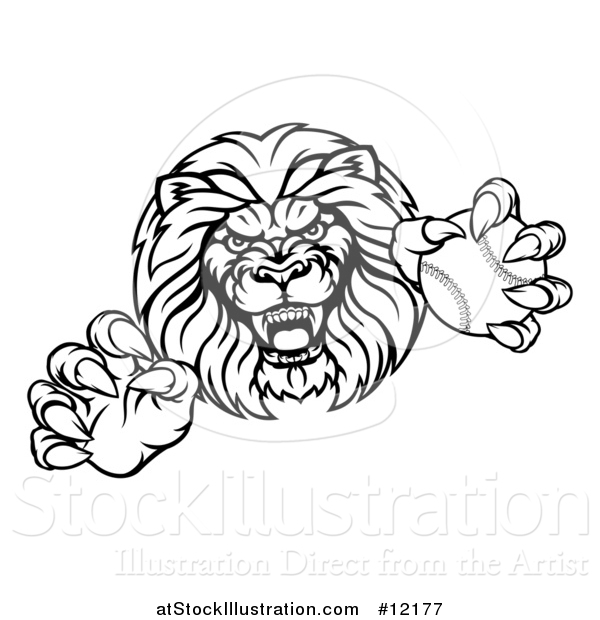 Vector Illustration of a Black and White Tough Clawed Male Lion Monster Mascot Holding a Baseball Ball