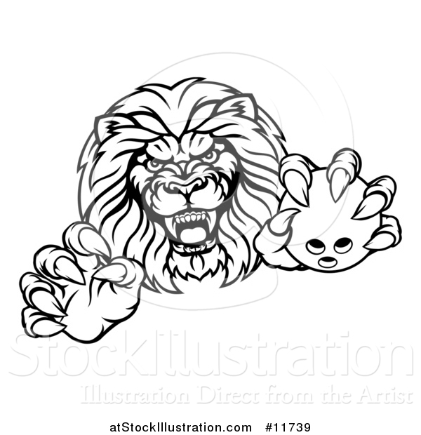 Vector Illustration of a Black and White Tough Clawed Male Lion Monster Mascot Holding a Bowling Ball