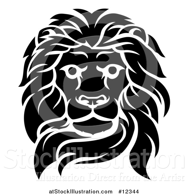 Vector Illustration of a Black and White Tough Male Lion Head