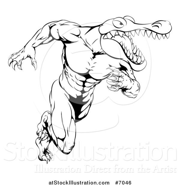 Vector Illustration of a Black and White Tough Muscular Alligator Man Running Upright