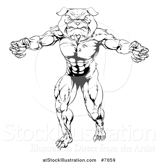 Vector Illustration of a Black and White Tough Muscular Bulldog Man Mascot Standing Upright