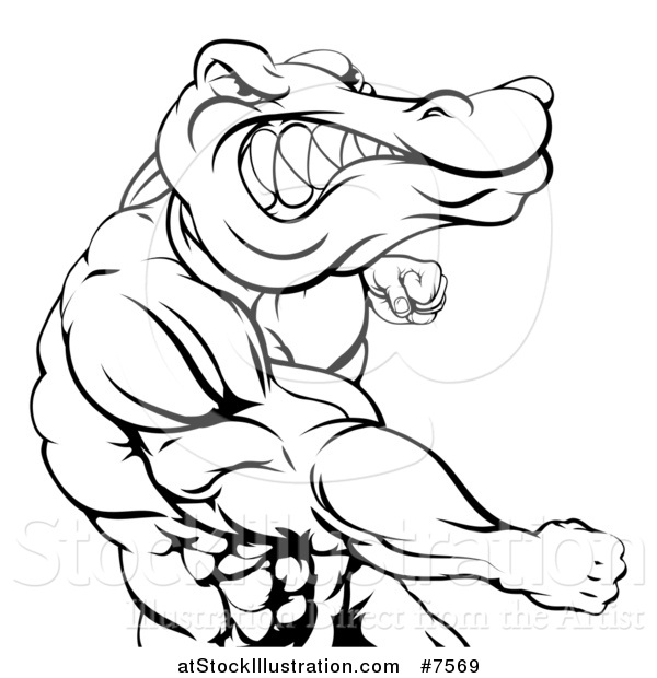 Vector Illustration of a Black and White Tough Muscular Crocodile or Alligator Man Punching