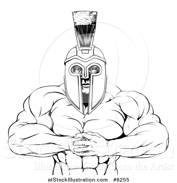 Vector Illustration of a Black and White Tough Muscular Spartan Warrior Man Gesturing Bring It with His Fists