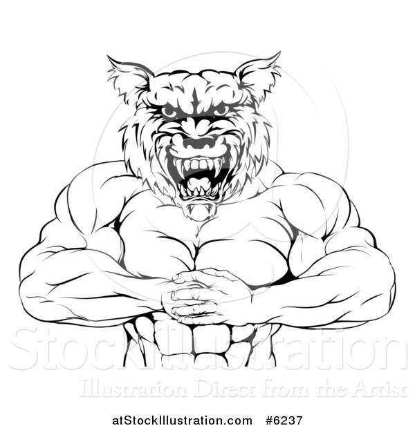Vector Illustration of a Black and White Tough Muscular Wolf Man Punching His Fist into His Hand