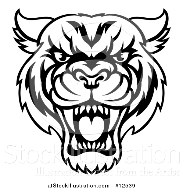 Vector Illustration of a Black and White Tough Tiger Mascot Face