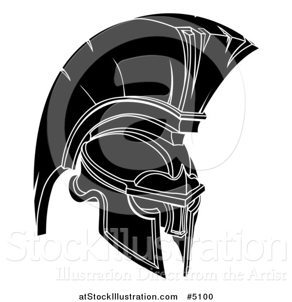 Vector Illustration of a Black and White Trojan Spartan Helmet