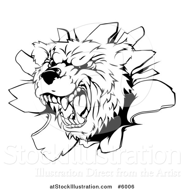 Vector Illustration of a Black and White Vicious Aggressive Bear Mascot Breaking Through a Wall