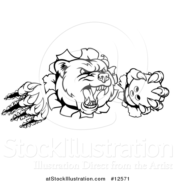 Vector Illustration of a Black and White Vicious Aggressive Bear Mascot Slashing Through a Wall with a Bowling Ball in a Paw