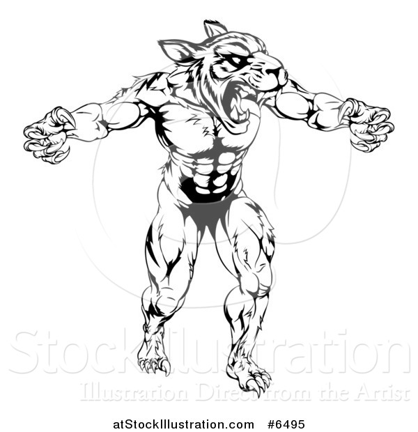 Vector Illustration of a Black and White Vicious Muscular Tiger Man Attacking