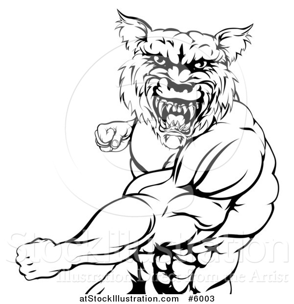 Vector Illustration of a Black and White Vicious Muscular Wolf Man Punching