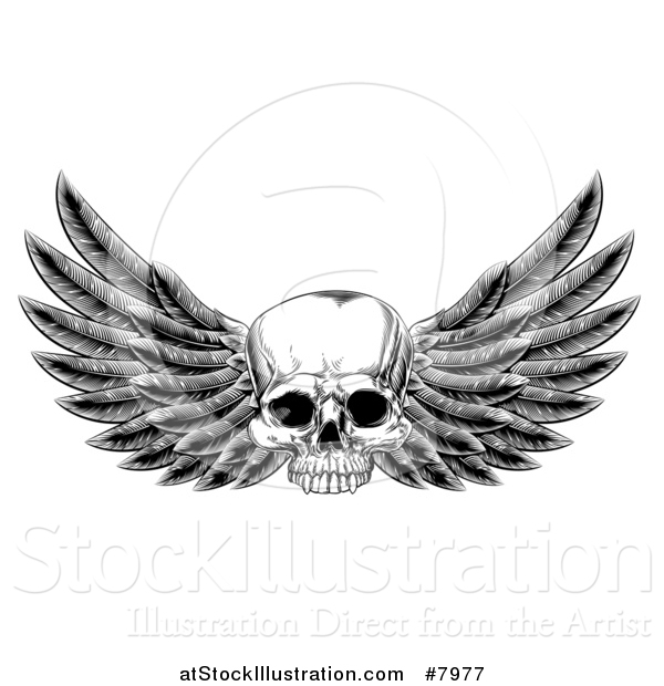 Vector Illustration of a Black and White Vintage Engraved or Woodcut Winged Human Skull