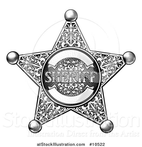 Vector Illustration of a Black and White Vintage Etched Engraved Sheriff Star Badge