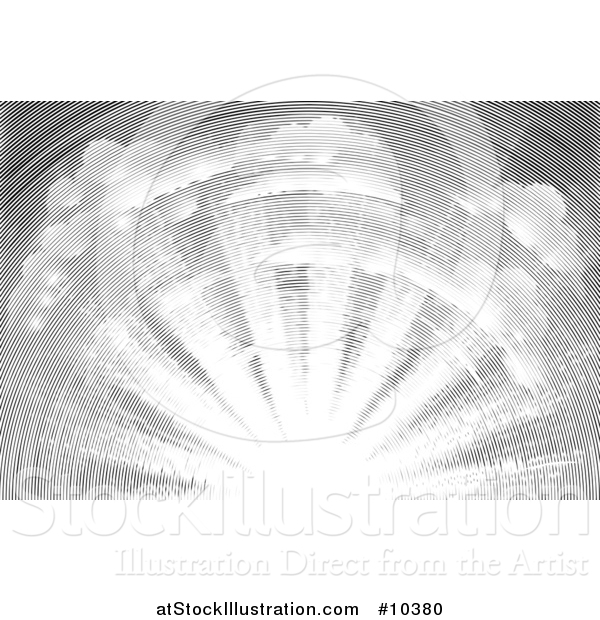 Vector Illustration of a Black and White Vintage Woodcut Sky with Sun Rays