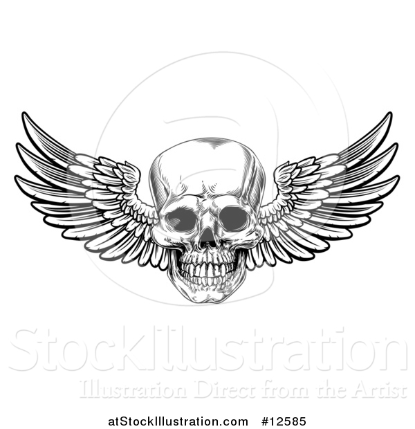 Vector Illustration of a Black and White Winged Human Skull