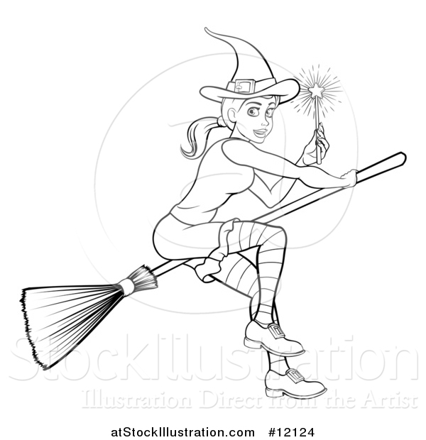 Vector Illustration of a Black and White Witch Holding a Magic Wand and Flying on a Broomstick
