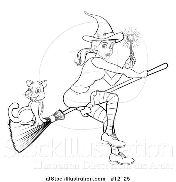 Vector Illustration of a Black and White Witch Holding a Magic Wand and Flying with a Cat on a Broomstick