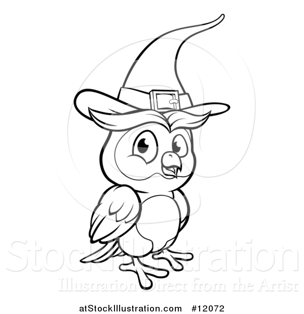 Vector Illustration of a Black and White Witch Owl Wearing a Hat
