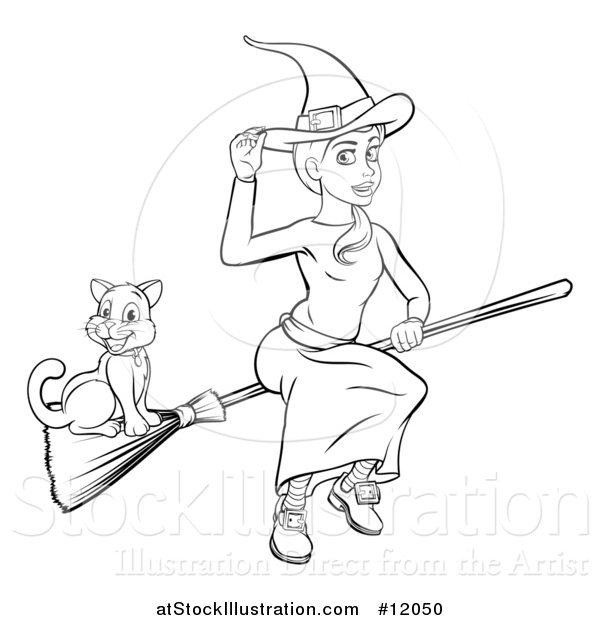 Vector Illustration of a Black and White Witch Tipping Her Hat and Flying on a Broomstick with Her Cat