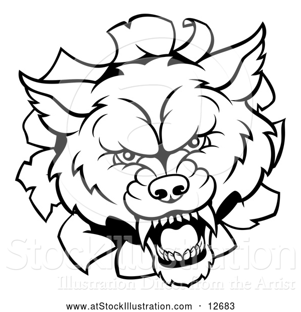 Vector Illustration of a Black and White Wolf Mascot Head Breaking Through a Wall