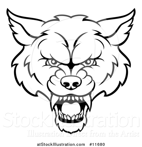Vector Illustration of a Black and White Wolf Mascot Head