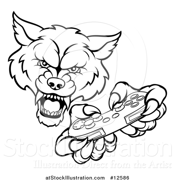 Vector Illustration of a Black and White Wolf Mascot Holding a Video Game Controller