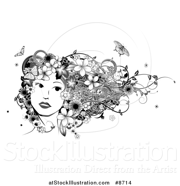Vector Illustration of a Black and White Womans Face with Butterflies, Flowers and Vines in Her Hair