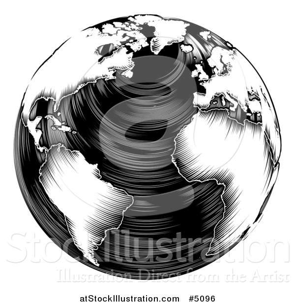 Vector Illustration of a Black and White Woodblock Earth