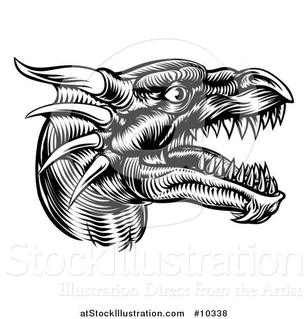 Vector Illustration of a Black and White Woodcut Dragon Head in Profile