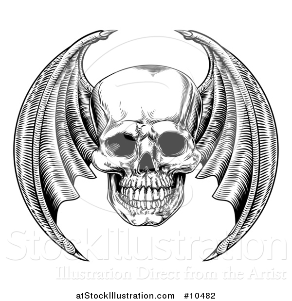 Vector Illustration of a Black and White Woodcut Etched or Engraved Bat or Dragon Winged Skull