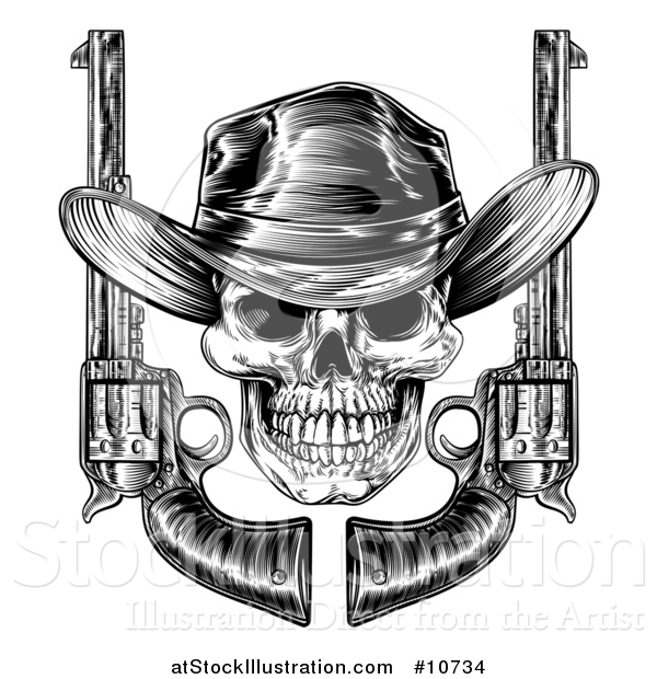 Vector Illustration of a Black and White Woodcut Etched or Engraved Cowboy Skull with Six Shooter Pistols
