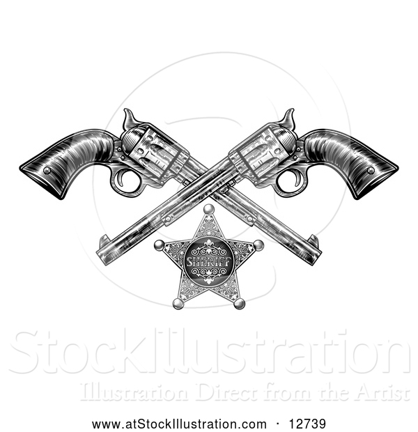 Vector Illustration of a Black and White Woodcut Etched or Engraved Sheriff Star and Crossed Vintage Revolver Pistols