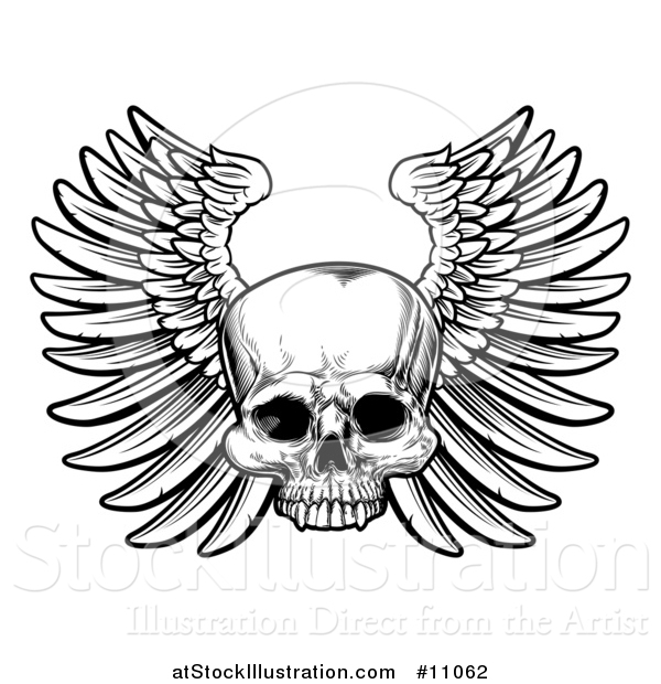 Vector Illustration of a Black and White Woodcut Etched or Engraved Winged Human Skull