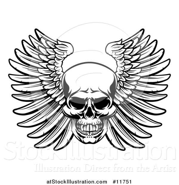 Vector Illustration of a Black and White Woodcut Etched or Engraved Winged Skull
