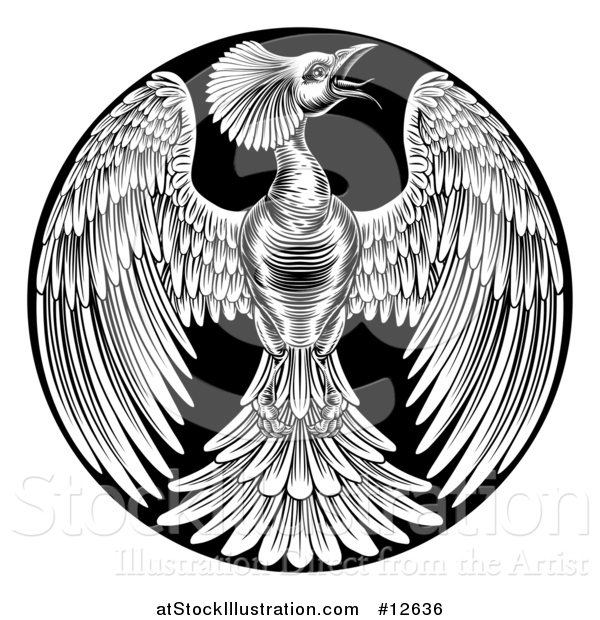 Vector Illustration of a Black and White Woodcut or Engraved Phoenix Firebird in a Circle